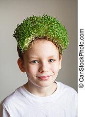 vegetariër, hair., organisch, vegan voedsel, schattig, microgreens., enig, microgreens, gezonde , concept., eten, jongen, milieu, voedingsmiddelen, drink., vasthouden, geitje, vegan, weinig; niet zo(veel), bescherming