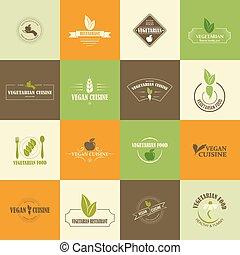vegetariër, set, vegan, iconen