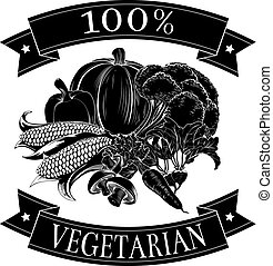 Vegetarian 100 percent label