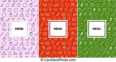 Vegetarian and cafe menu pattern design template.