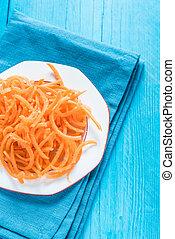 Vegetarian and healthy carrot spaghetti