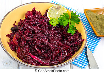 Vegetarian and lean menu-dishes from beets. Studio Photo