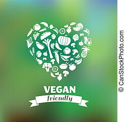 vegetarian and vegan, veganism healthy organic background and icon set, flat design concept