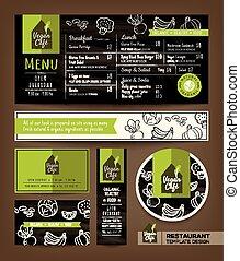 Vegetarian and vegan healthy restaurant cafe set menu graphic design template