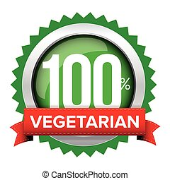 Vegetarian badge vector with red ribbon