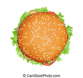 Vegetarian burger isolated on white background. Top view
