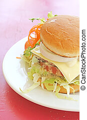 Vegetarian Burger With French Fries