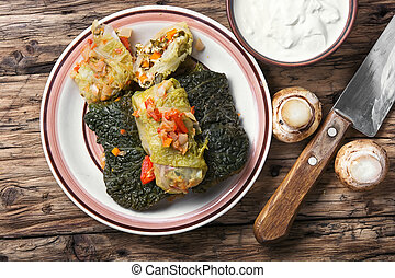 Vegetarian cabbage rolls on plate