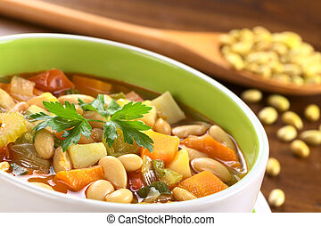 Vegetarian canary bean soup made of canary beans, celery, ...