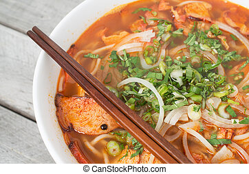 Vegetarian central Vietnamese hot and spicy soup, Bun Bo Hue...