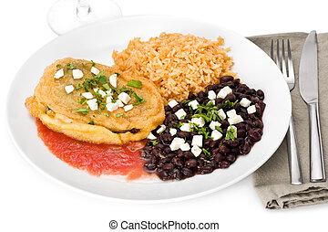 Vegetarian Chile Relleno - Cheese chile relleno with black...