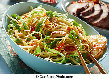 Vegetarian Chinese Noodle Bowl with Chopsticks