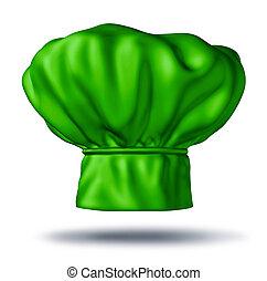 Vegetarian cooking - Green chef hat representing vegetarian...