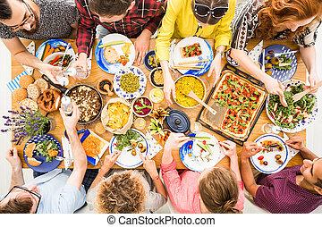 Vegetarian diet, healthy food, people