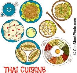 Vegetarian dinner of thai cuisine sketch icon - Thai...
