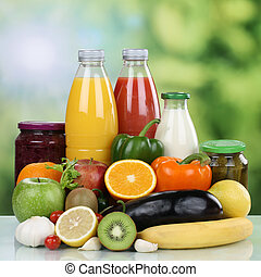Vegetarian eating fruits, vegetables and orange juice drink