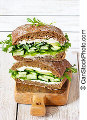 Vegetarian fitness sandwich.