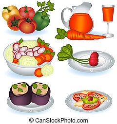 A collection of different Vegetarian food icons - part 1