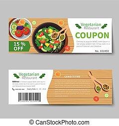 vegetarian food coupon discount template flat design