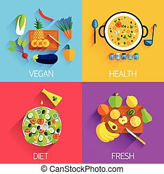 Vegetarian food, Diet, Fresh and Healthy food and Salads banners. Eating natural products, fruits and vegetables, carrot, cabbage, vitamins. Salad with pineapple and banana, eggplant and pepper, lettuce and olive oil.