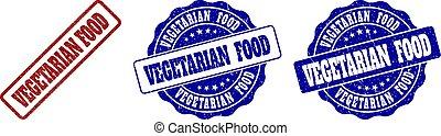 VEGETARIAN FOOD Grunge Stamp Seals