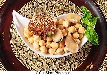 Vegetarian food - Hummus beans and falafel
