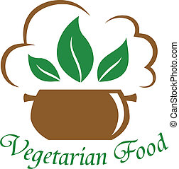 Vegetarian food icon with the text below a cooking pot with green leaves and a cloud of steam isolated on white