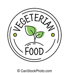 Vegetarian food label line style logo with green leaf, sticker template for product packaging, vector