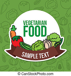 vegetarian food over green background vector illustration