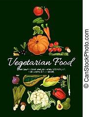 Vegetarian food poster. Fresh farm vegetables
