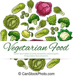 Vegetarian food poster with green vegetables