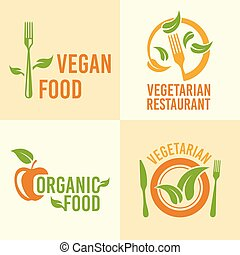 Vegetarian food set of vector vintage logos
