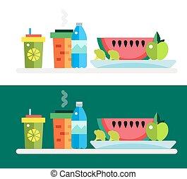 Vegetarian food shop market object icons