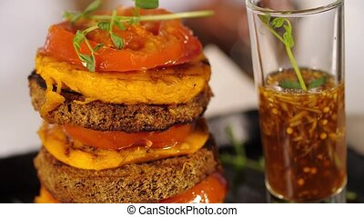Vegetarian food spinning - Creative vegan food with pumpkin,...