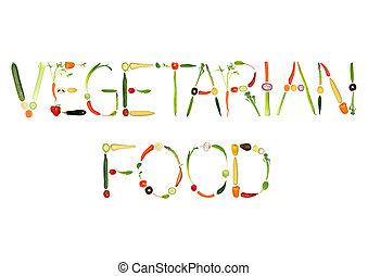 Vegetarian Food - Vegetable selection spelling the words...