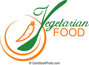 Vegetarian food symbol showing a fresh carrot on a plate with stylised font incorporating a spoon, vector illustration