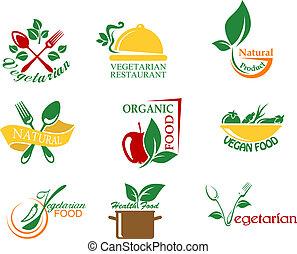 Vegetarian food symbols with fruits and vegetables for design