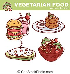 Vegetarian food vector collection of tasty meals illustrations