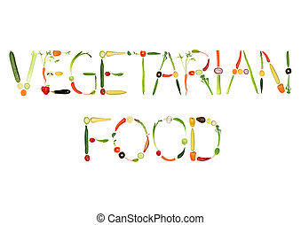 Vegetarian Food - Vegetable selection spelling the words...