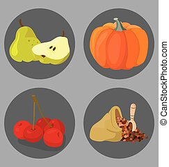 Vegetarian foods: Cereal, pumpkin, pear, cherry