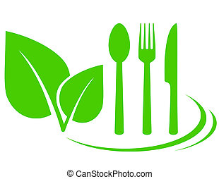 vegetarian icon with leaves and fork, spoon, knife