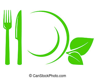 green vegetarian icon with leaves, fork, knife and plate