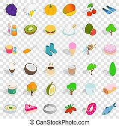 Vegetarian icons set, isometric style