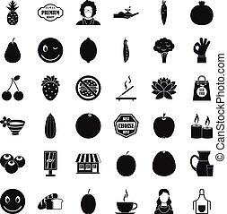 Vegetarian kitchen icons set, simple style