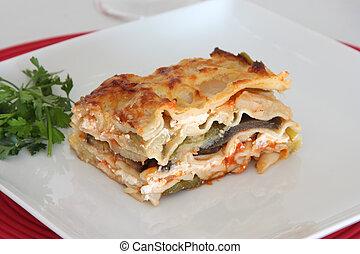 Vegetarian Lasagna - Vegetarian lasagna with eggplant,...
