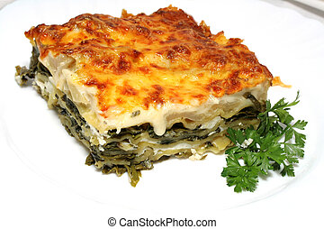 Vegetarian lasagna with ricotta cheese and spinach filling