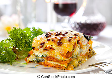 Vegetarian Lasagne - Vegetarian lasagne topped with toasted ...