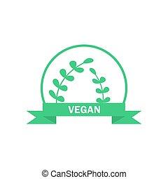 Vegetarian logo. Green food symbol. Vector label