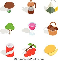 Vegetarian meal icons set, isometric style