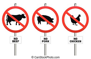 No beef, pork and chicken - three prohibitory signs with crossed out pig, cow and hen - a symbol against meat production and for vegetarian diet and lifestyle. Isolated vector illustration over white.